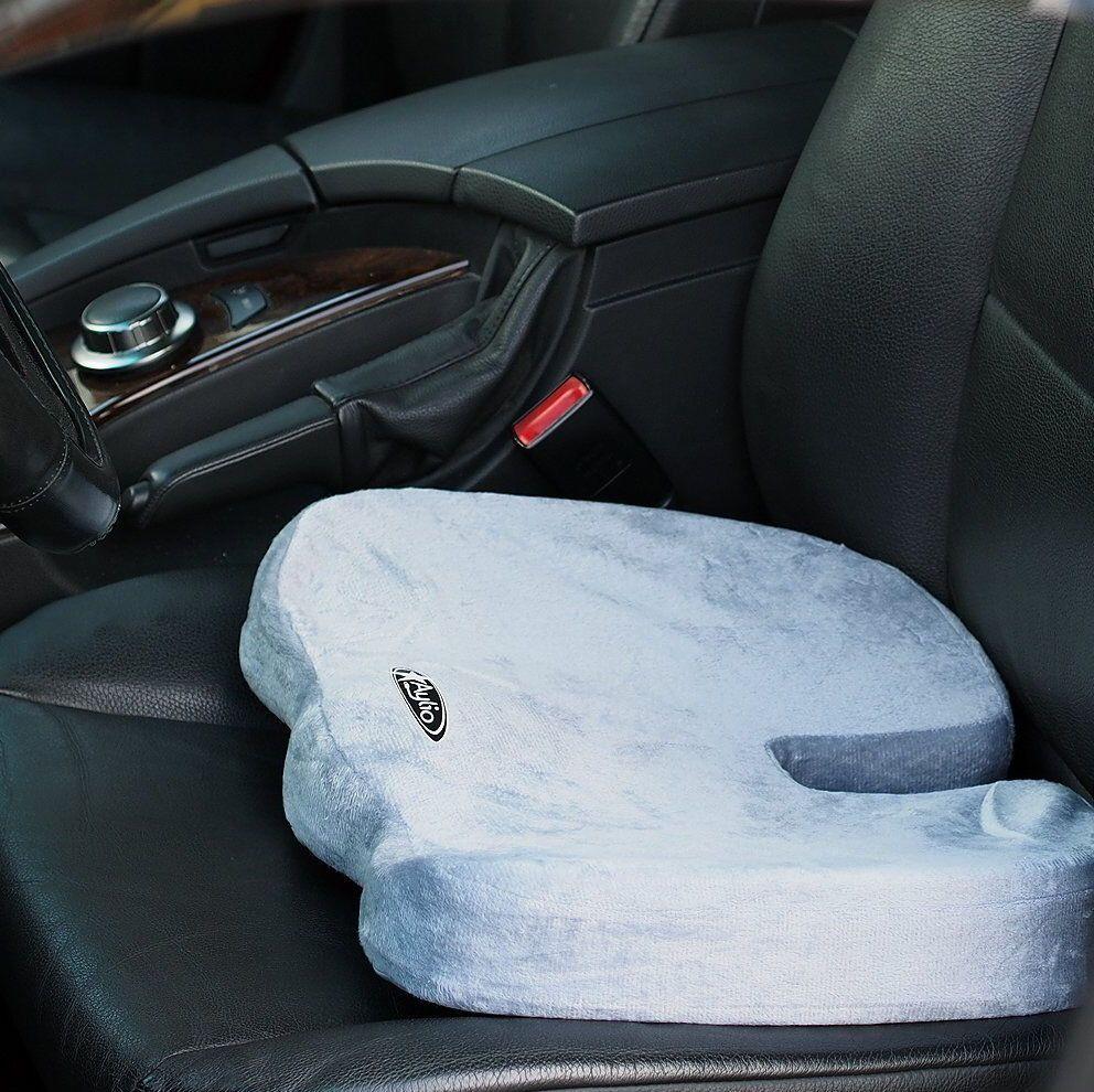 Aylio Orthopedic Memory Foam Car Plane Seat Cushion Back Pain Relief Chair Gray