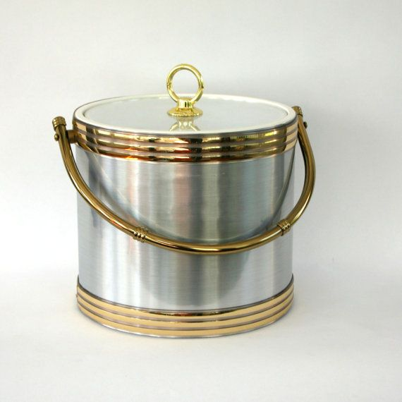 Vintage Ice Bucket Metallic Silver Gold Barware By Rhapsodyattic 48 00 Bar Cart Decor Metal Metallic Silver