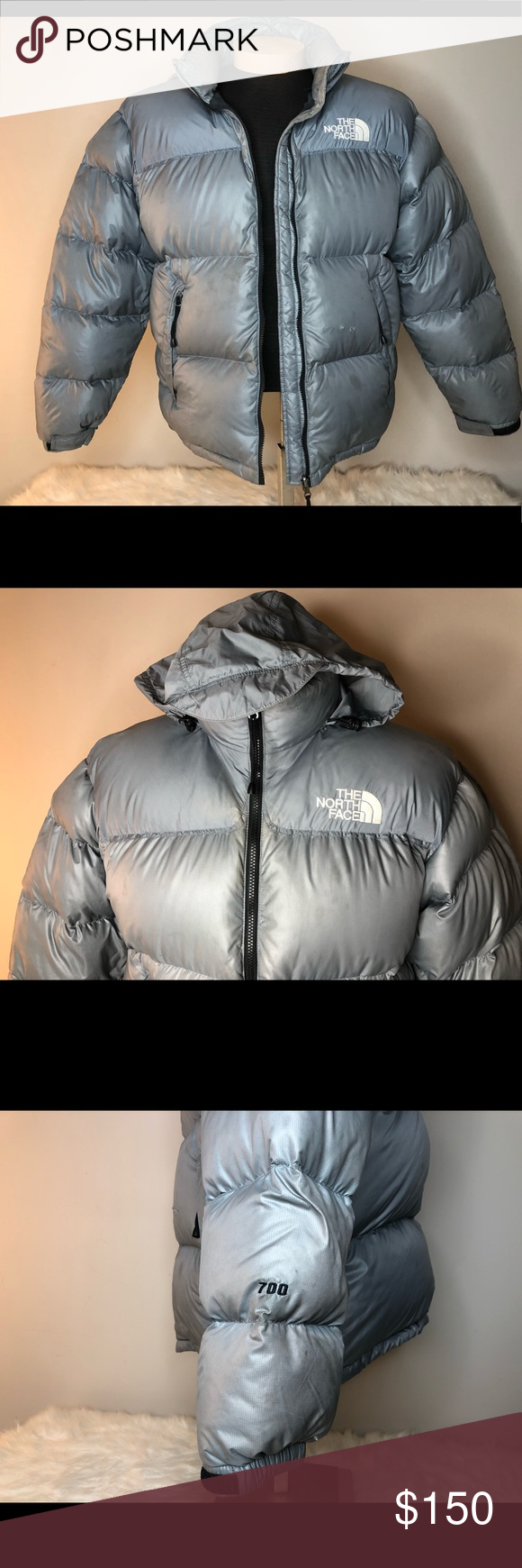North Face Silver Goose Down Hood Lg Puffer Jacket The North Face Jackets Puffer [ 1740 x 580 Pixel ]