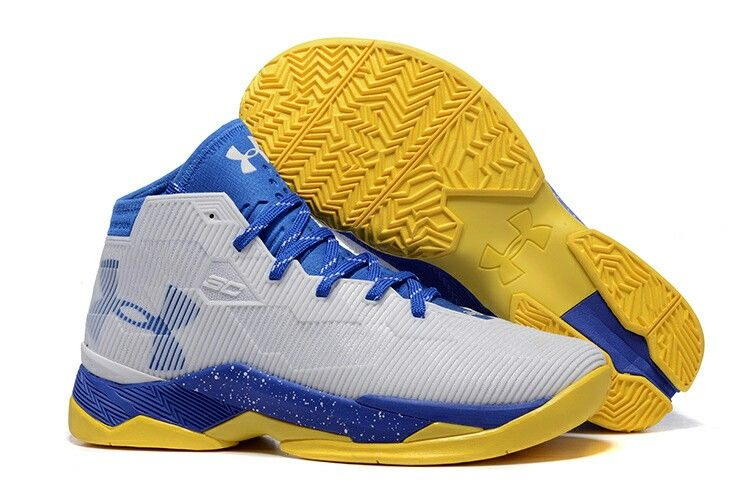 Cheap Under Armour Curry 25 Mens White Blue Yellow Basketball Shoes Online