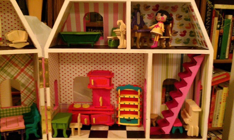 Unpainted wooden dollhouse from Michaels + wooden furniture puzzle ...