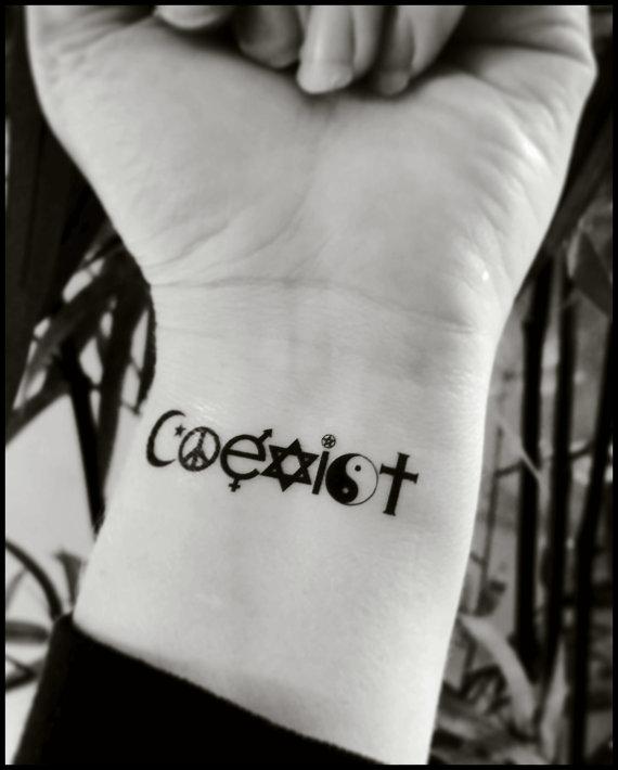 Temporary tattoos coexist fake tattoo world peace tattoo for Tattoo costs estimate