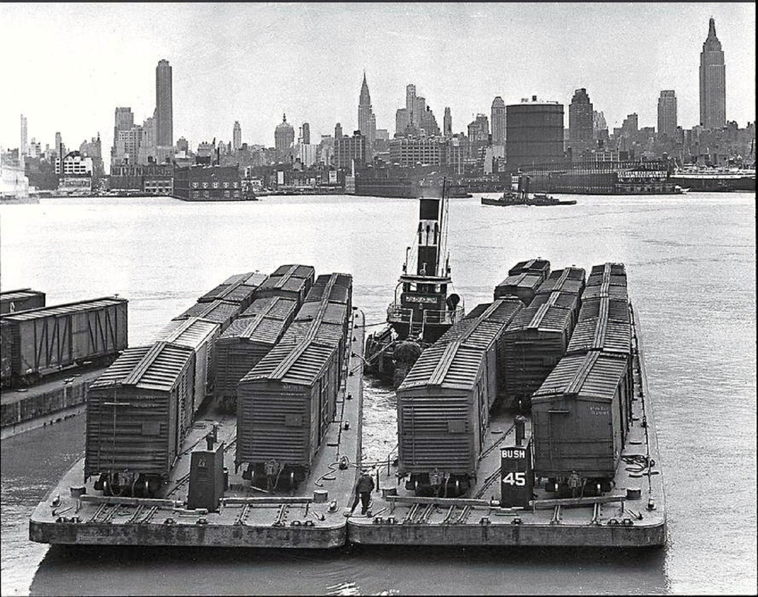 Rail cars crossing the Hudson, 1936. Train pictures, Old