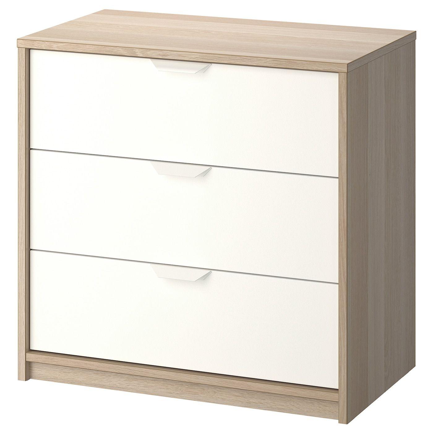 Askvoll Kommode Mit 3 Schubladen Eicheneff Wlas Weiss Ikea