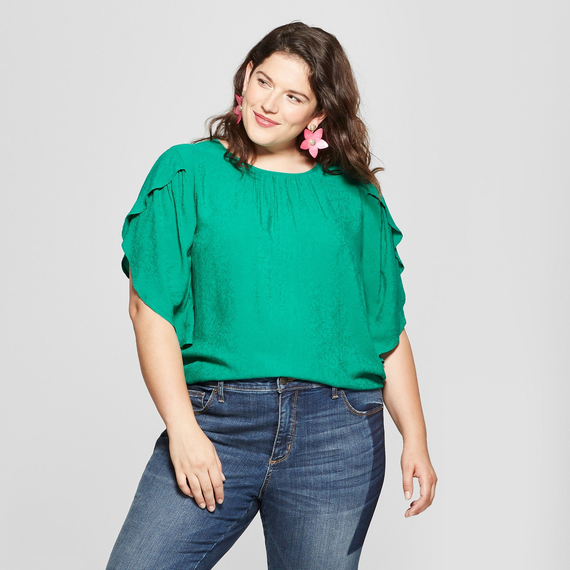 3983d1c9d08 Women s Plus Size Flutter 3 4 Sleeve Blouse - Ava   Viv Green 4X ...