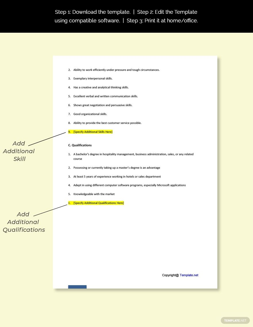 Free Hotel Sales Job Description In 2020 Sales Job Description