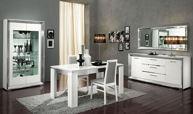 s jour complet design italien reflex blanc brillant et. Black Bedroom Furniture Sets. Home Design Ideas
