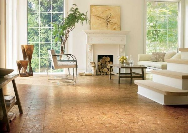 room cork floor tiles large living room interior