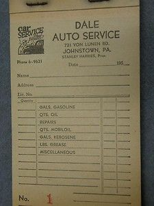 oil gas service station johnstown pa 1950 receipt book dale auto