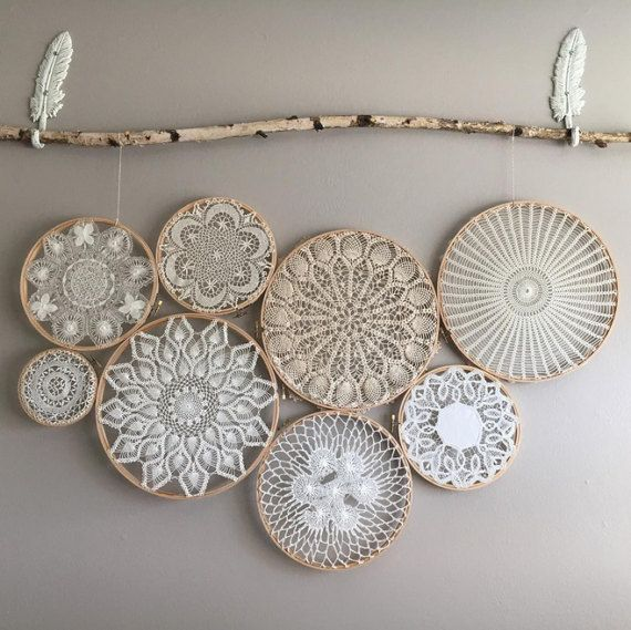 Vintage Bohemian Doily Wall Art Wall Hanging Doilies