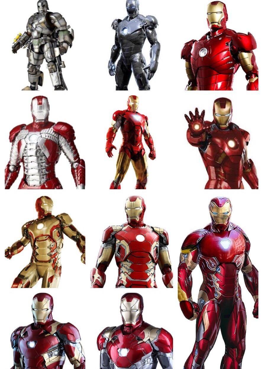 All Main Iron Man Suits 2008 2018 Iron Man