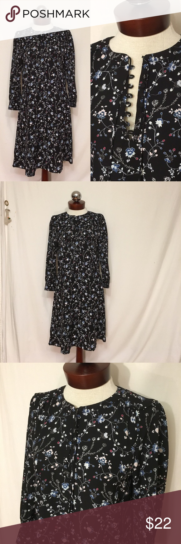 LOFT Floral print peasant dress Excellent! Buttons at the neck, ties. Unlined. Polyester. Three-quarter length sleeves with button cuffs.  bust 38 waist 35 hip 46 Length 37 LOFT Dresses Midi