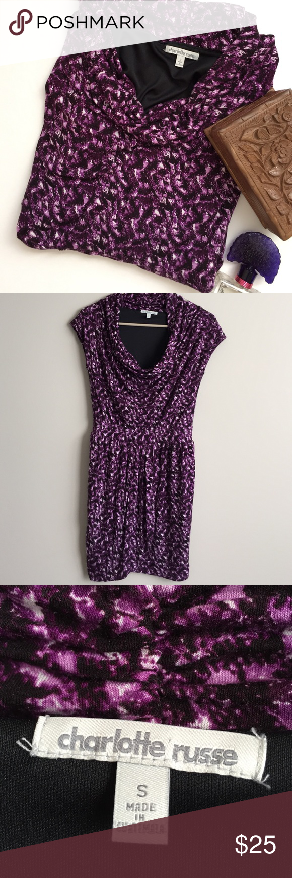 Charlotte Russe body con dress Beautiful mini dress. Tulip overlap. Body con. Cowl neck. Perfect to wear with tights for fall. Used once. Excellent condition. Bundle and save more. Charlotte Russe Dresses Mini