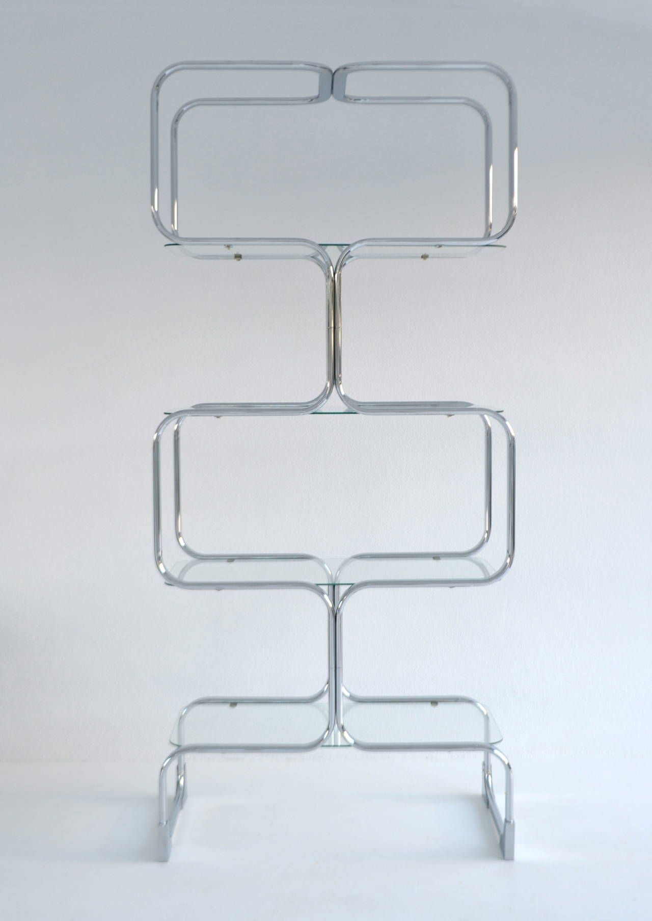 Italian Chrome And Glass Post Modern Etagere | From A Unique Collection Of  Antique And Modern