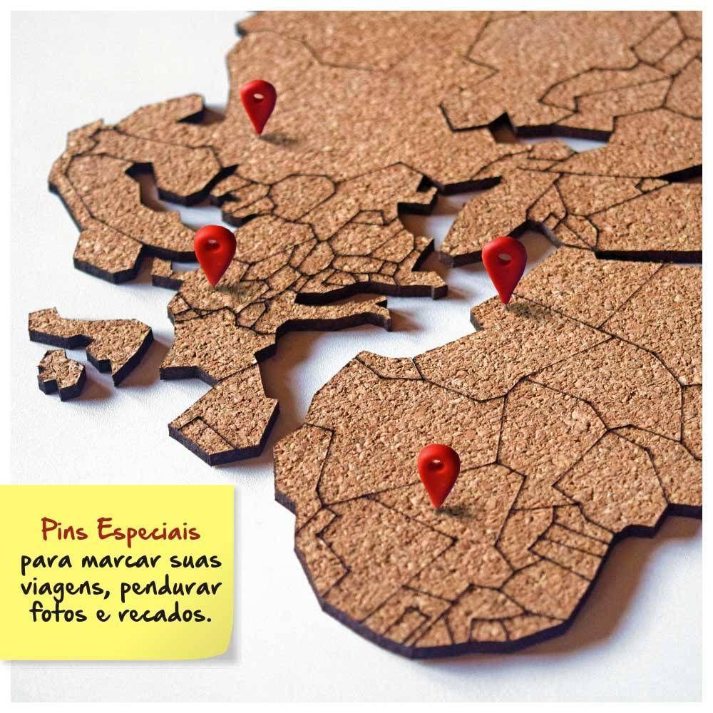 Mural de corti a adesivo mapa m ndi 10 pins especiais my - Mural mapa mundi ...