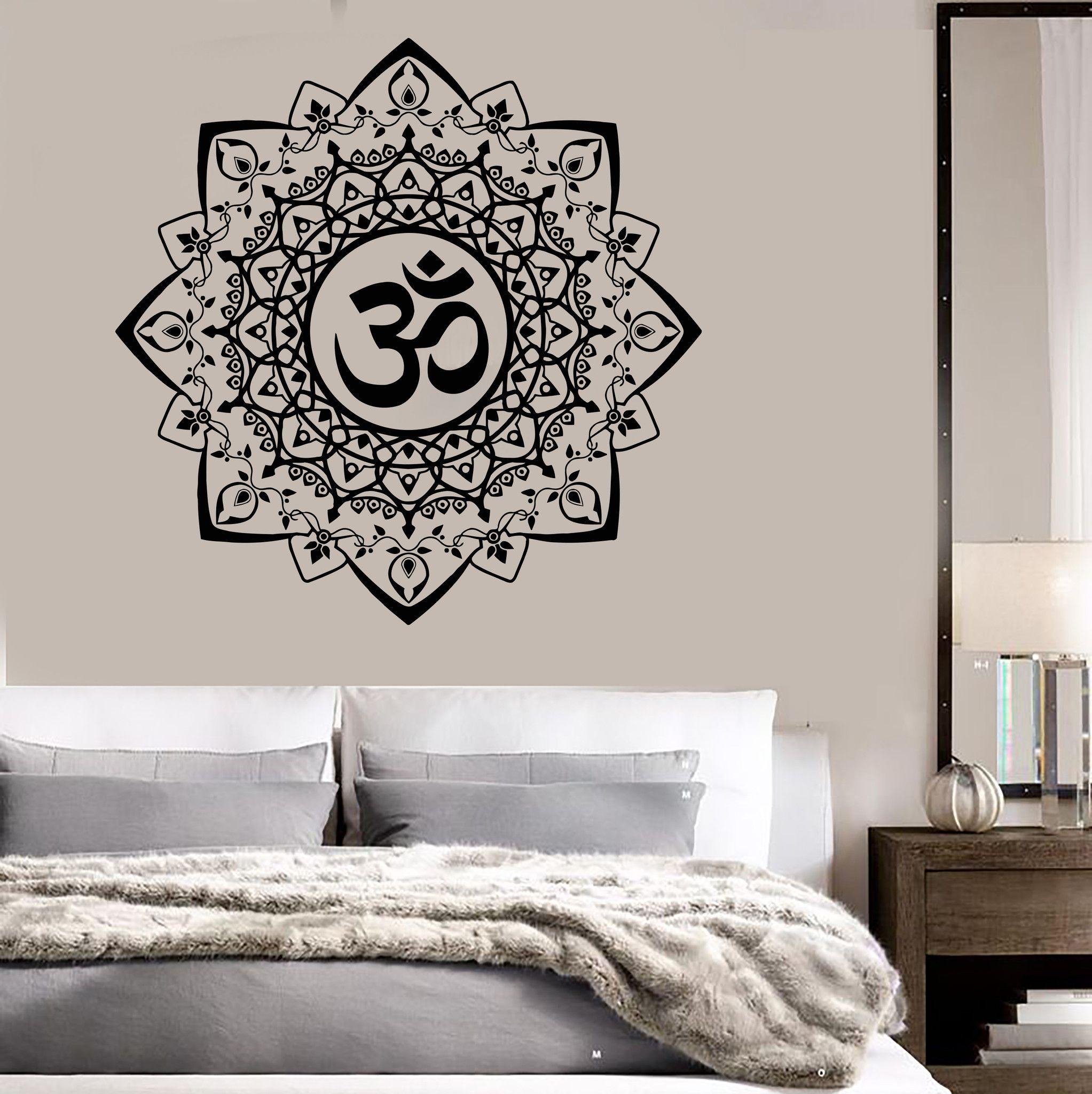 Vinyl Wall Decal Buddhism Mandala Ornament Om Bedroom Stickers - Zen wall decalsvinyl wall decal yin yang yoga zen meditation bedroom decor
