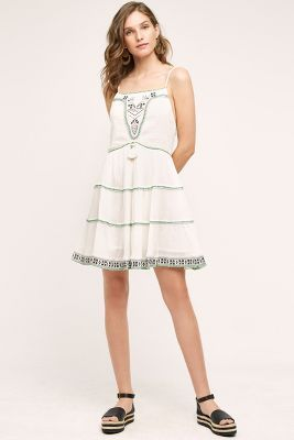 f26e8a5539c0 NEW Anthropologie Flannel white Gauzy Tiered Embroidered Swing Dress 3 / L