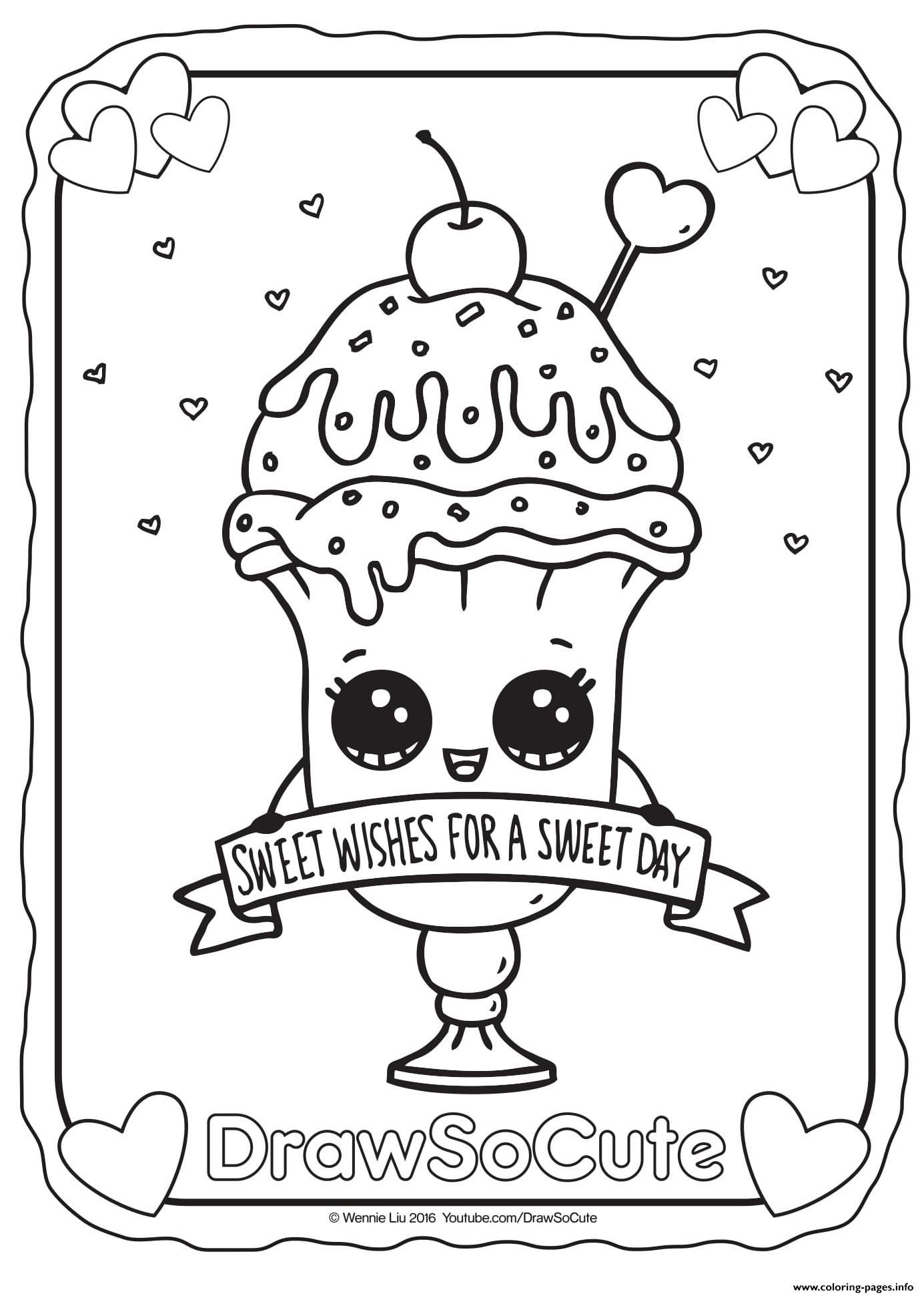 Draw So Cute Coloring Pages 4 D Sundae Coloring Page Image