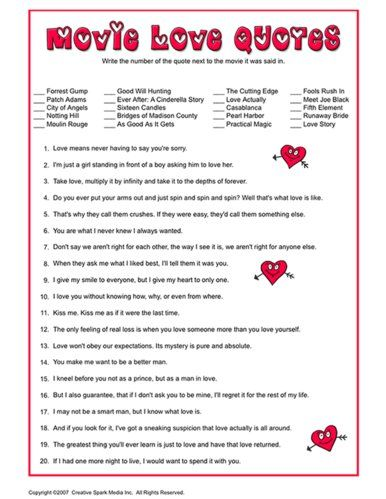 Fun Valentine S Day Printable Games Movie Love Quotes Fun