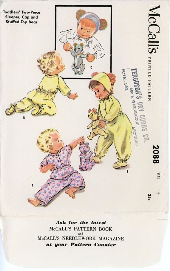 1950s Toddlers Footie Sleeper Pattern McCalls 2088 by CynicalGirl ...