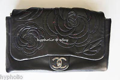 9196c550e285 Authentic Chanel Paris-Shanghai Camellia black leather tweed jumbo flap bag
