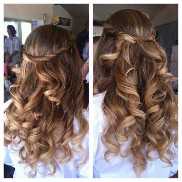 bridesmaid loose curls long hair