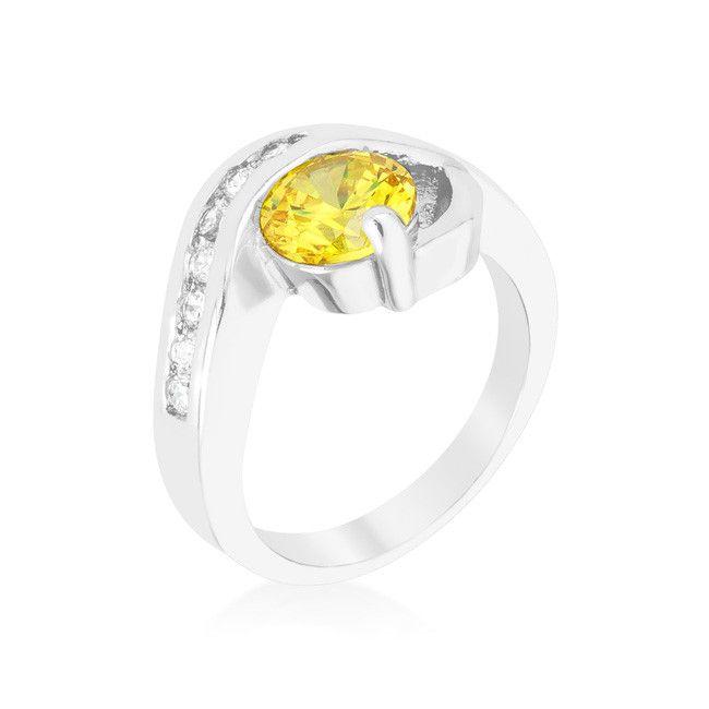 Yellow Cubic Zirconia Twist Ring