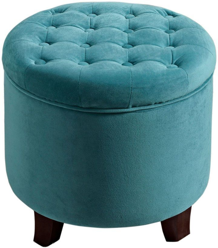 Marvelous Teal Velvet Tufted Round Storage Ottoman Products Tufted Andrewgaddart Wooden Chair Designs For Living Room Andrewgaddartcom