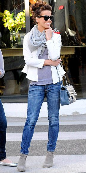 Jeans, grey top/neutral top, white blazer, grey scarf/neutral scarf, ankle boots (Kate Beckinsale)