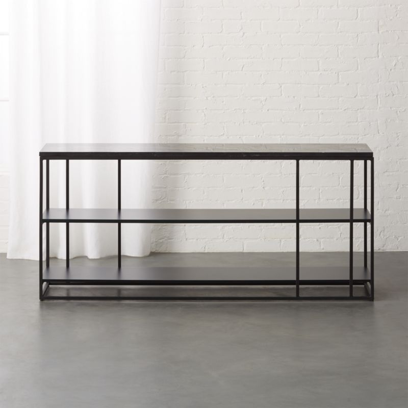 Caged Black Marble Media Console With