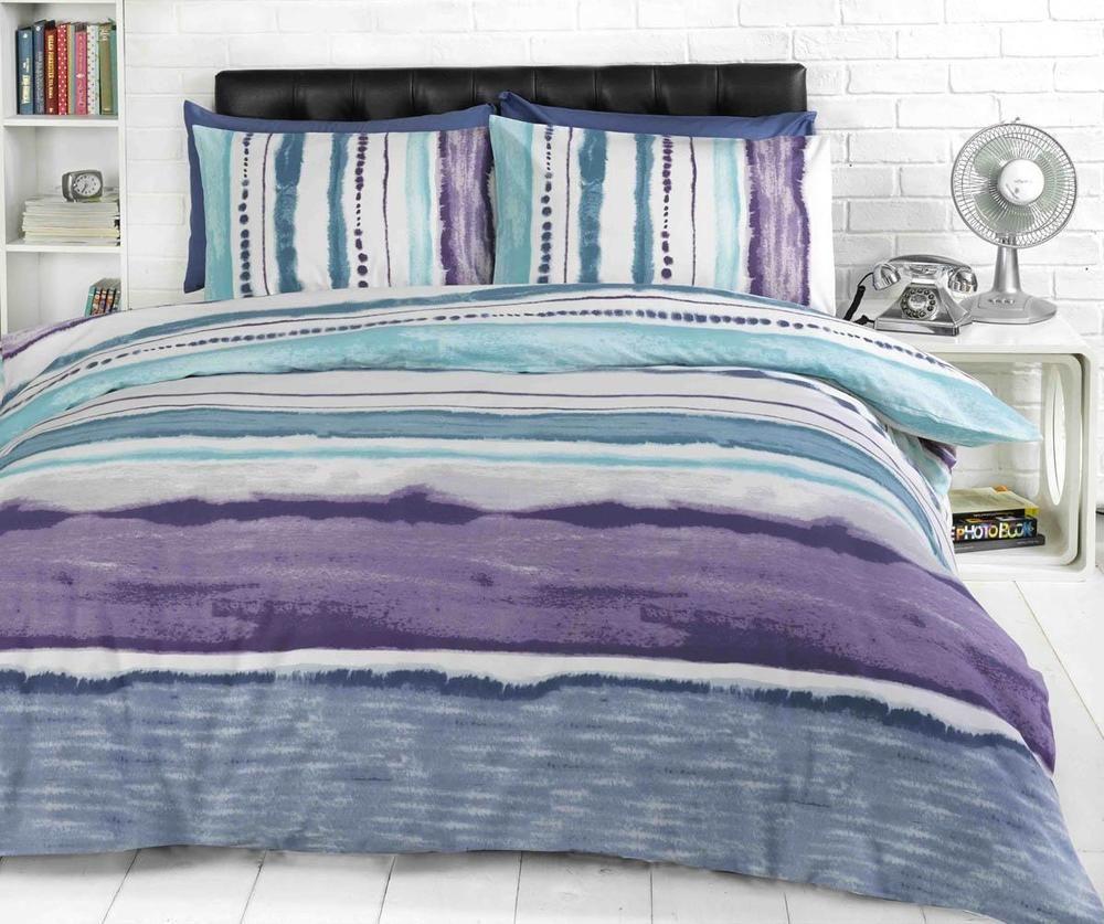 Banded Stripe Teal Duvet Cover Set Bedding Set Single Double King