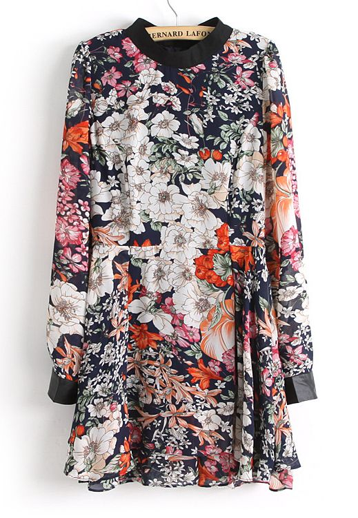Navy Long Sleeve Contrast Leather Floral Dress - Sheinside.com