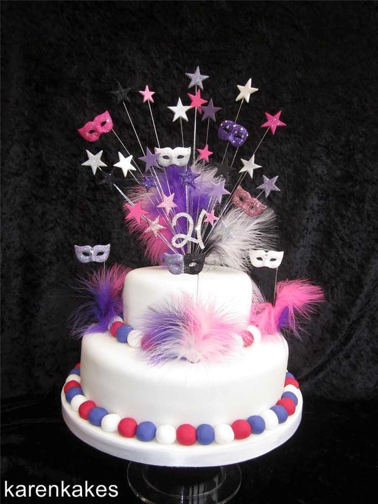 MASQUERADE MASK BIRTHDAY CAKE TOPPER ANY COLOURS 18th 21st
