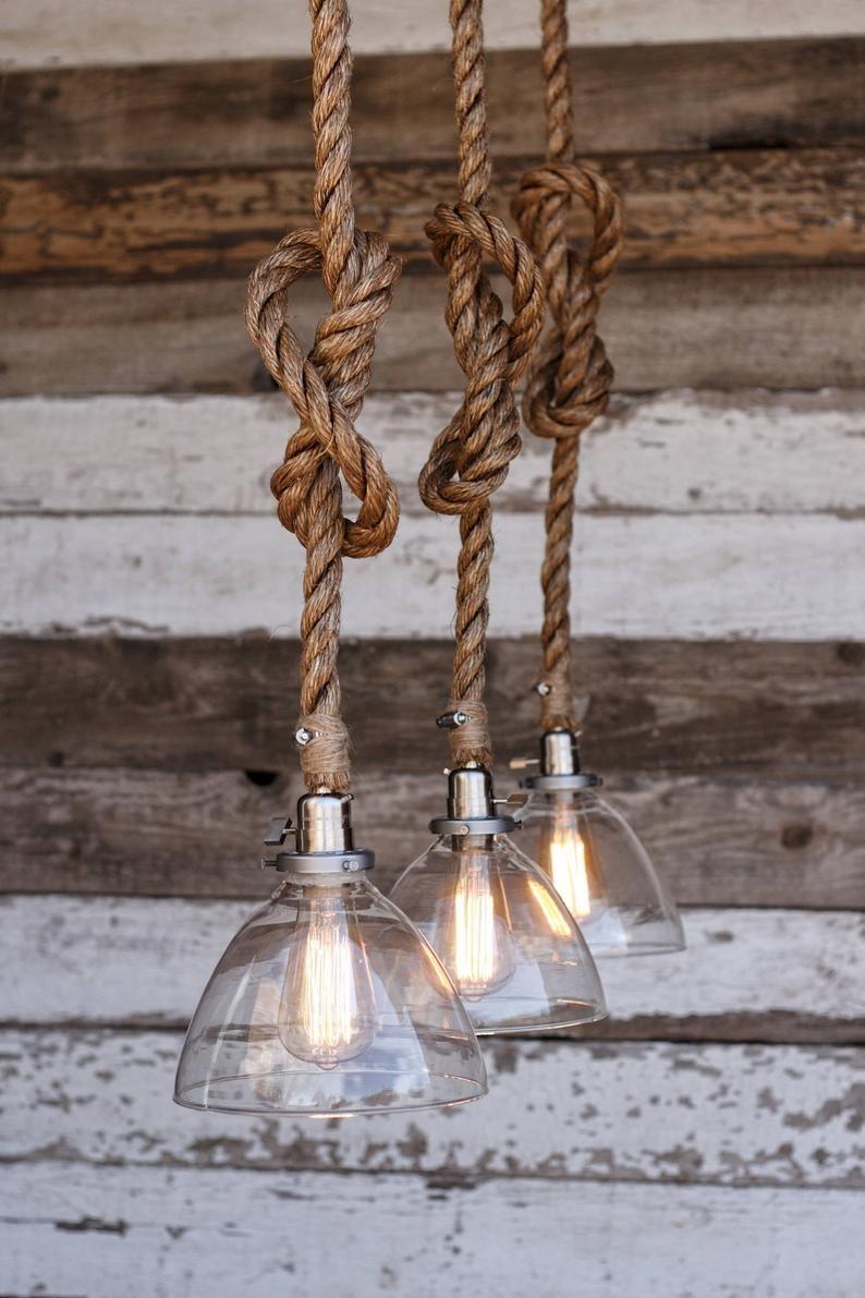 The Snow Pendant Light Industrial Rope Light Fixture Etsy In 2020 Rope Light Fixture Rustic Light Fixtures Rope Light
