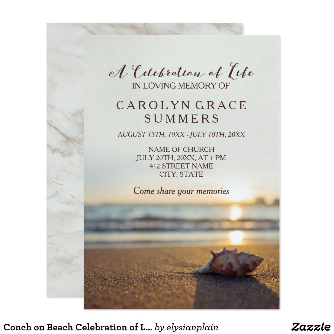 Conch On Beach Celebration Of Life Invitation