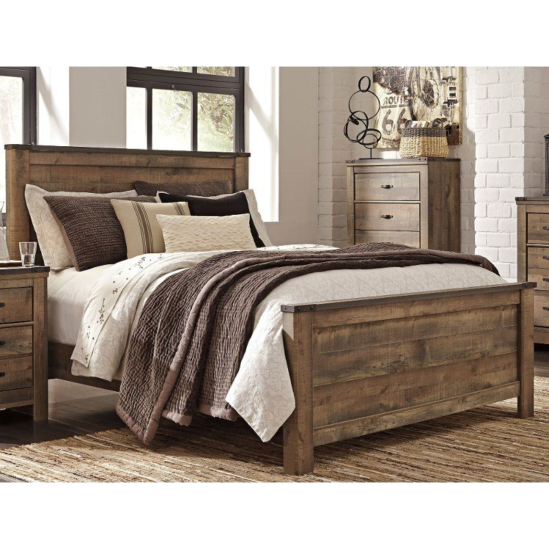 Contemporary Rustic Oak King Size Bed Trinell in 2020