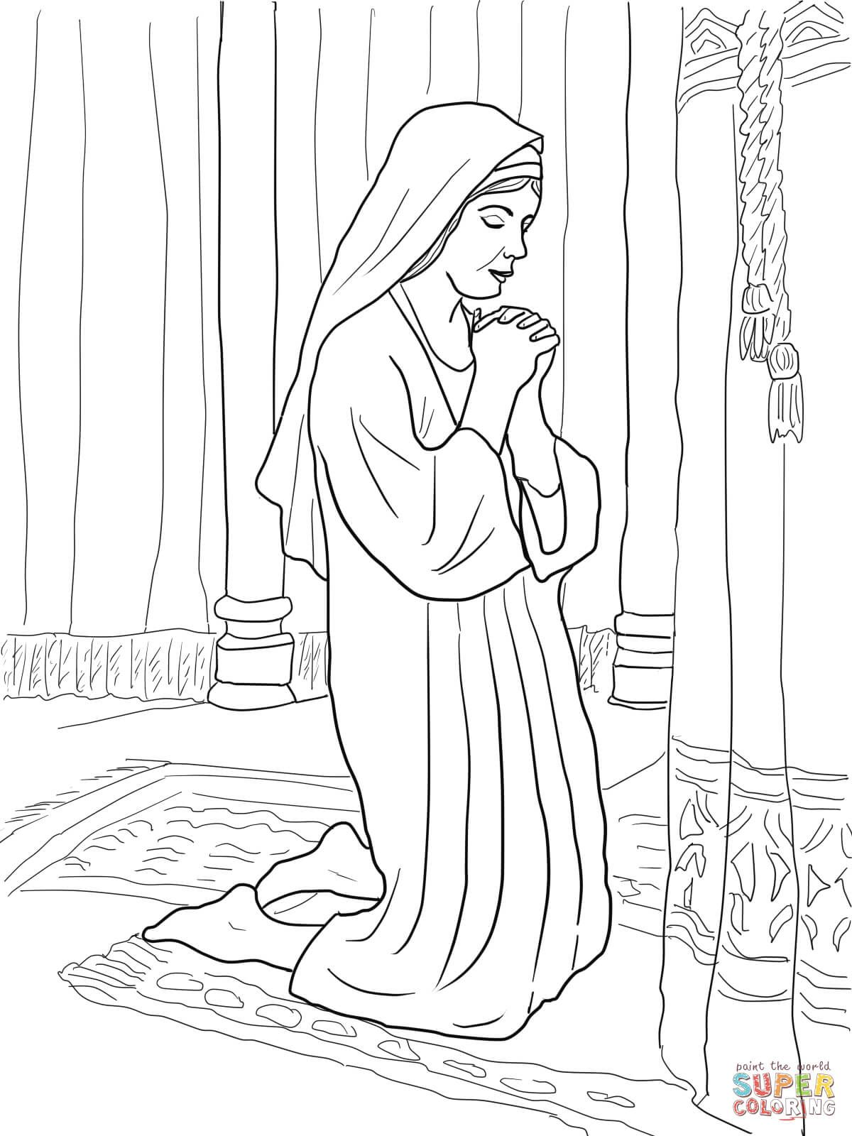 Hannah Prays For A Son Coloring Page From Prophet Samuel