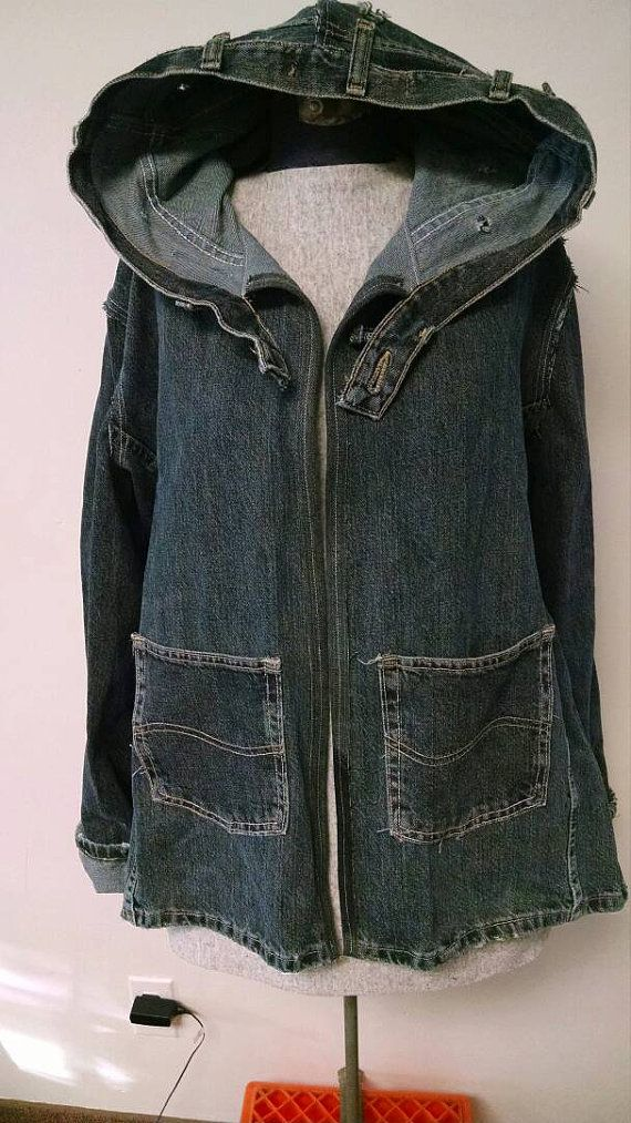 Recycled Denim Hooded Jacket Upcycled Jeans By