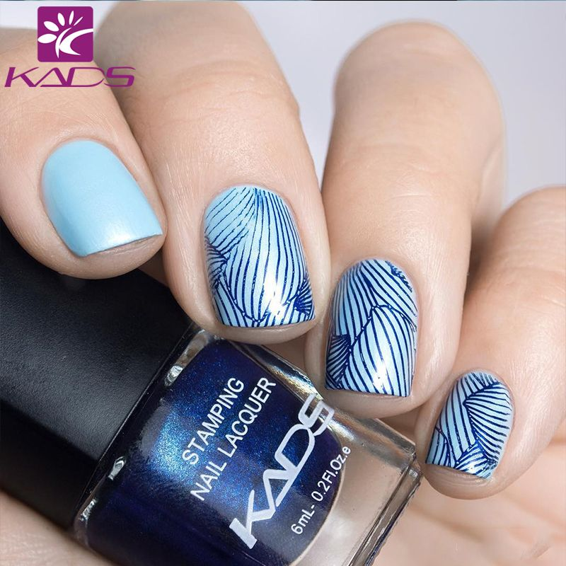 1bottle Lot Blue Series Beauty Color Nail Stamp Polish Lacquer 4 Colors Optional Stamping Print For Tip Decoration