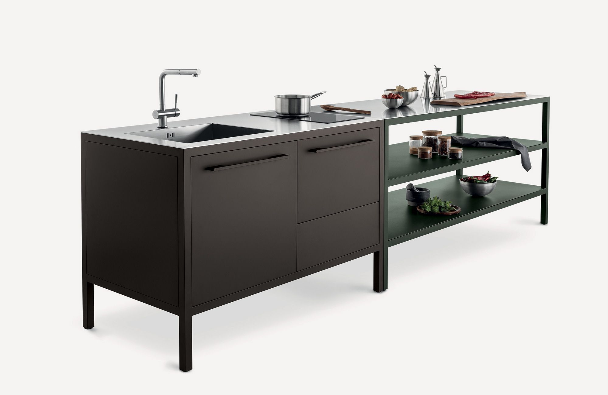Metal Mini Kitchen With Handles Frame Kitchen 2 Units Frame Collection By Fantin Design Salvatore Indr In 2020 Mini Kitchen Metal Kitchen Big Green Egg Outdoor Kitchen