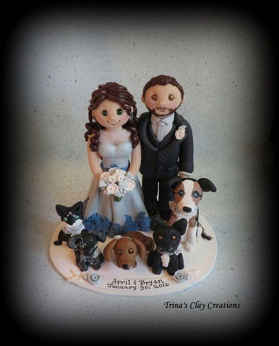 Wedding Cake Topper Custom Cake Topper Grooms Cake Dog Cat Pets Bride And Groom Pol Wedding Cake Toppers Custom Cake Toppers Custom Wedding Cake Toppers