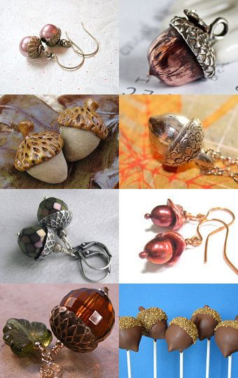 Fun Acorn collection, featuring some JET nuts, lol #designsbycher #jewelryonetsy --Pinned with TreasuryPin.com