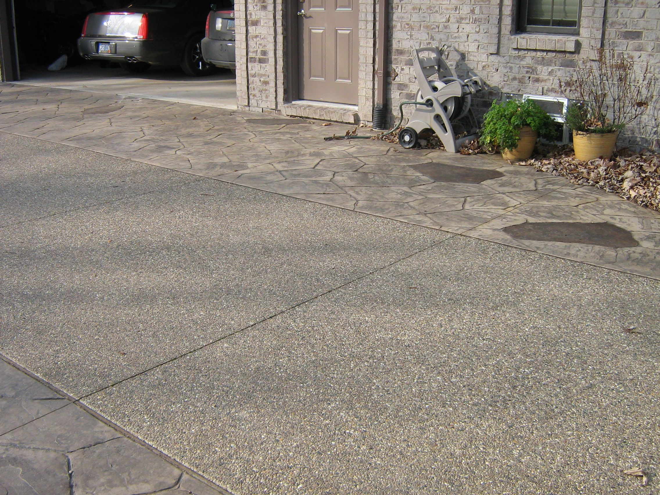 Exposed Aggregate Driveway With Stamped Concrete Brick