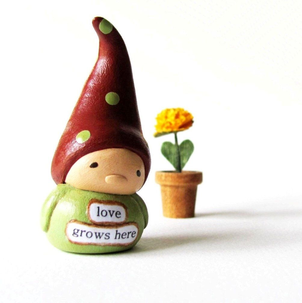 Tiny Garden Gnome Sculpture And Flower Pot  Miniature Art Doll Figurines   Beau0027s Wees Collectibles