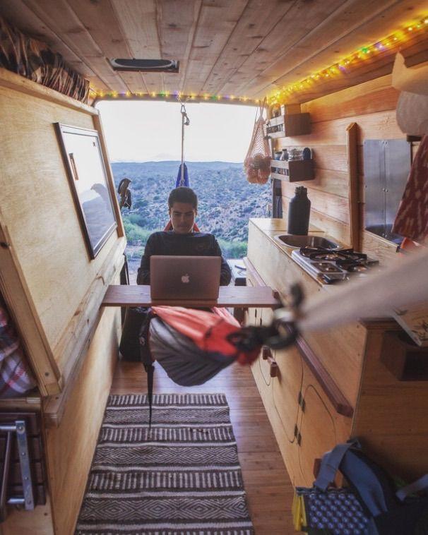 Love The Sliding Desk Surface Whiteboard And Kitchen Shelves In Cyrus Sutton Sprinter Van LifeConversion