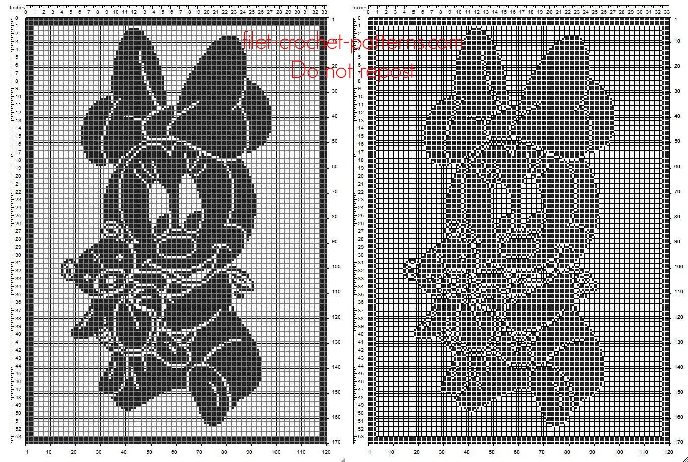 Filet crochet manta bebé con Disney Minnie bebé con el oso de ...