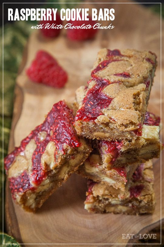 Raspberry Cookie Bars with White Chocolate Chunks