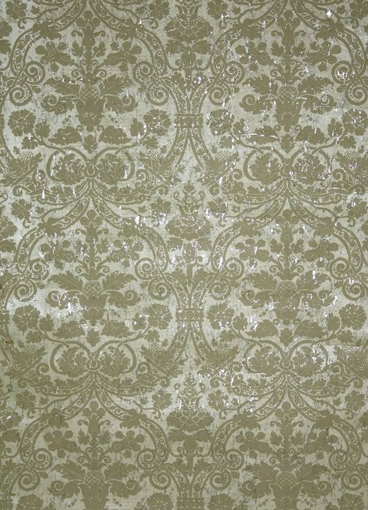 Curtis Damask Wallpaper A Distressed Wide Width With Taupe Print Random Reflective