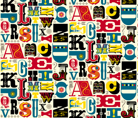 Throw pillow Woodtype Alphabet fabric by pennycandy on Spoonflower - custom fabric