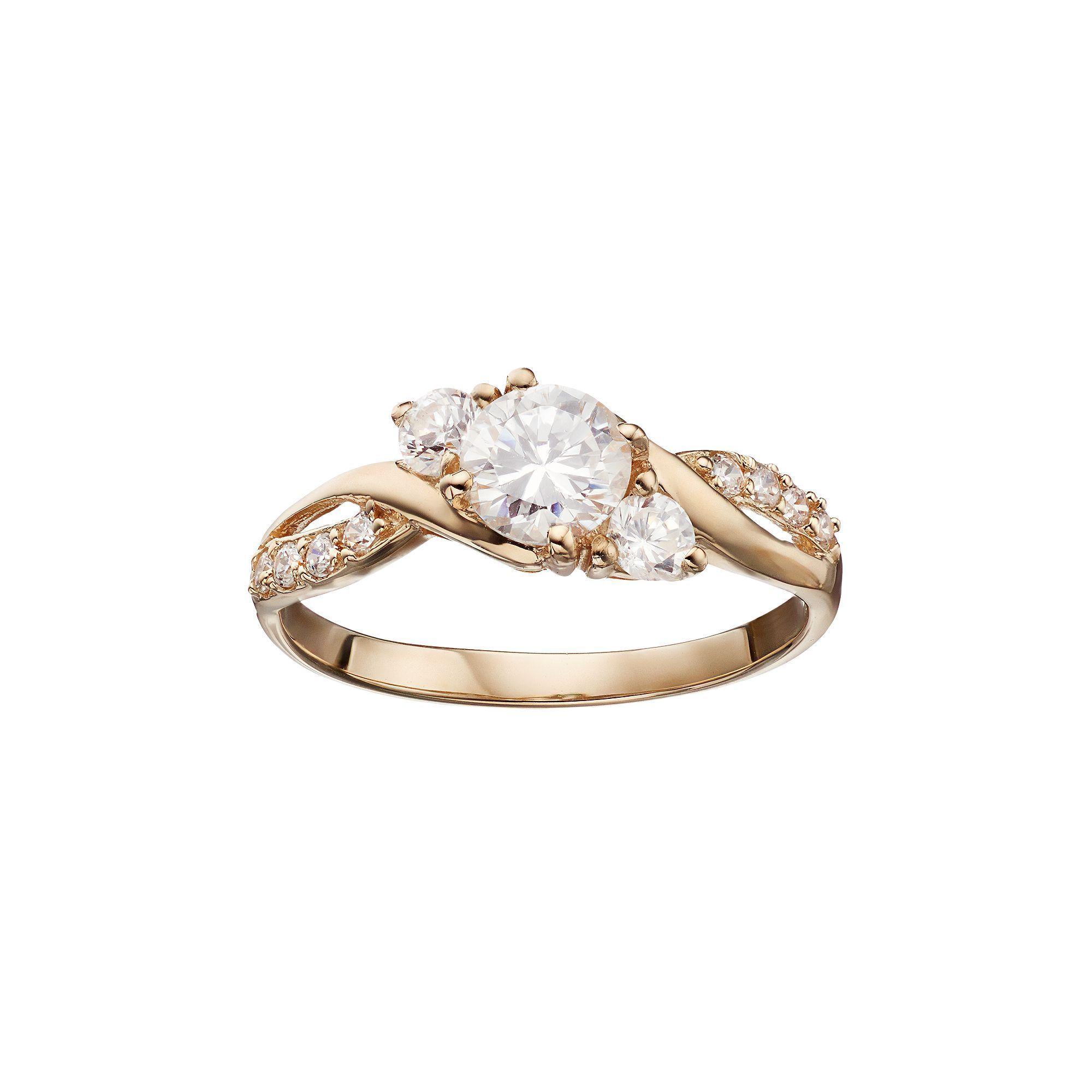 da94fb16ab9aed 10k Gold Swarovski Zirconia Round-Cut Halo Ring Brooches & Pins Bands